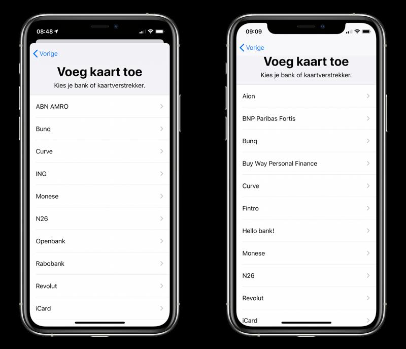 Apple Pay aanbieders in Nederland en België.