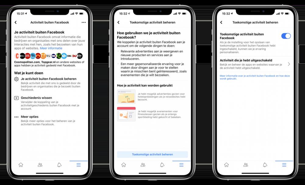 Activiteit buiten Facebook gegevens verzamelen voorkomen