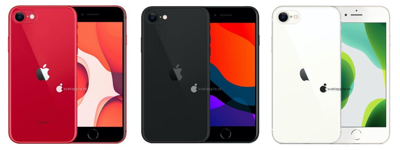 iPhone SE 2/iPhone 9 renders in kleuren.
