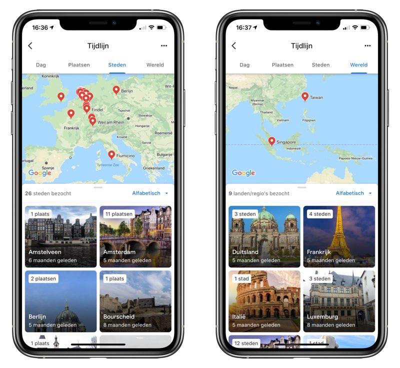 Google Maps tijdlijn iOS