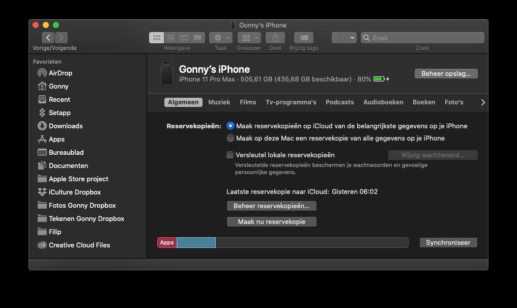 Backup verwijderen van de Mac