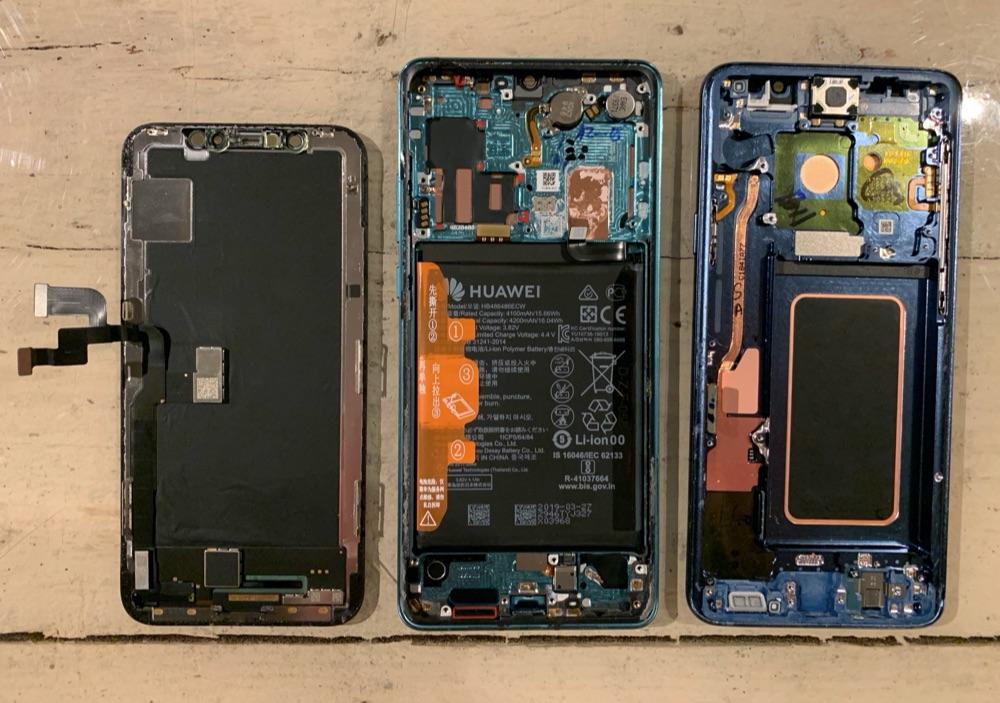 Schermen van iPhone Huawei en Samsung