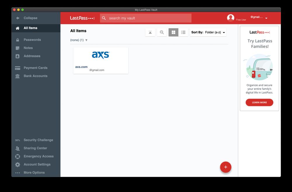 LastPass web app