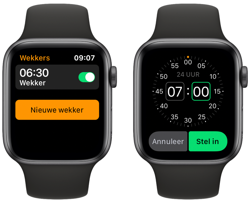 Apple Watch wekker instellen.