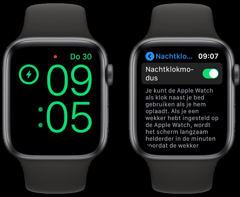 Apple Watch Nightstand/Nachtklokmodus instellen.