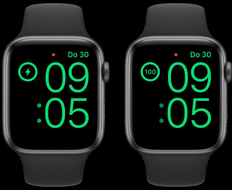 Percentage bekijken op de Apple Watch tijdens nachtklokmodus.