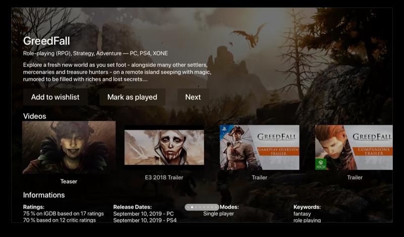 Gamepagina in Best Game Trailers op Apple TV.