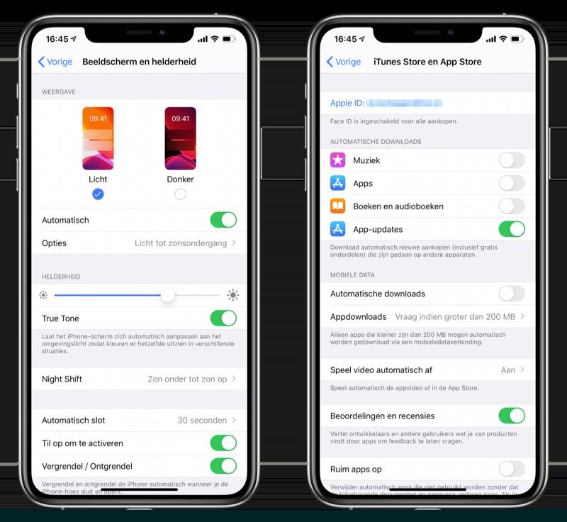 Helderheid en App Store instellingen