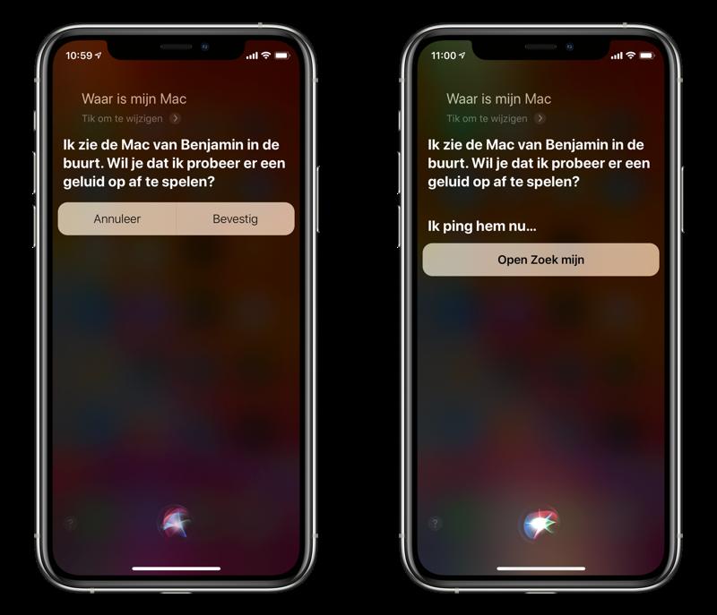 Met Siri op iPhone zoeken naar een Mac.