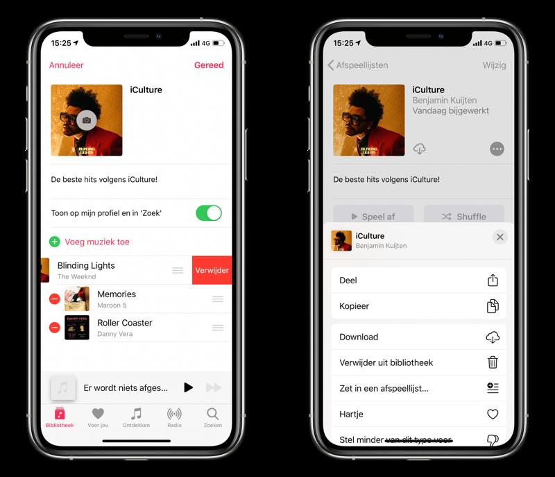 Apple Music afspeellijst verwijderen.