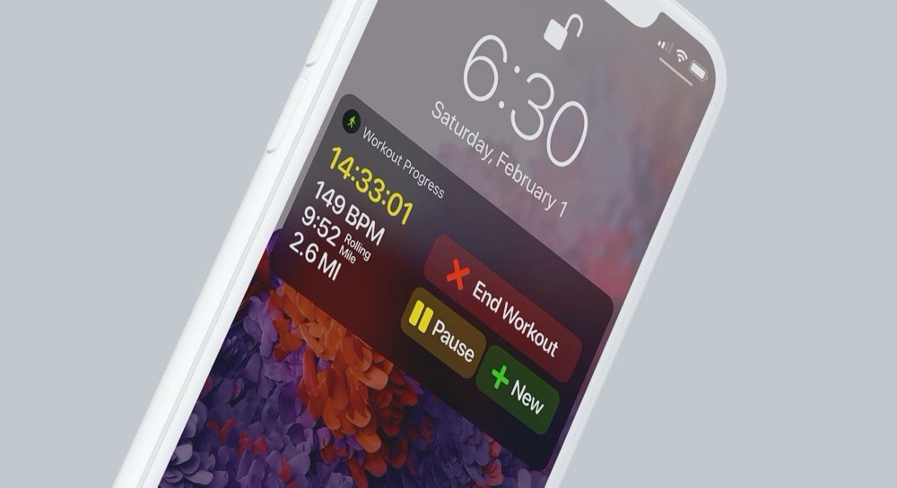 watchOS 7 concept met workout stoppen en pauzeren op iPhone.