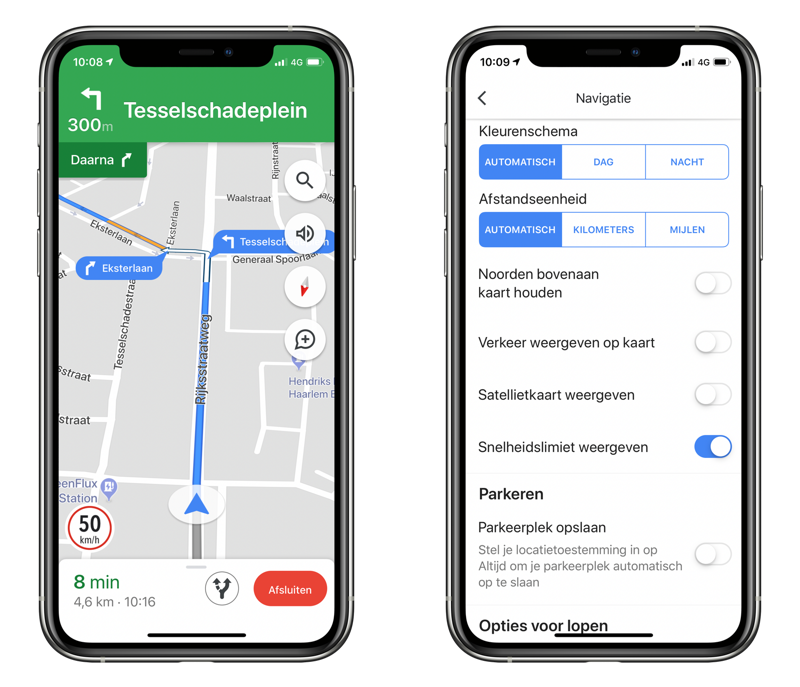 Google Maps snelheidslimiet in Nederland op de iPhone.