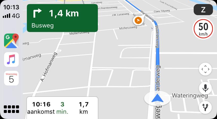 Google Maps snelheidslimiet in CarPlay.