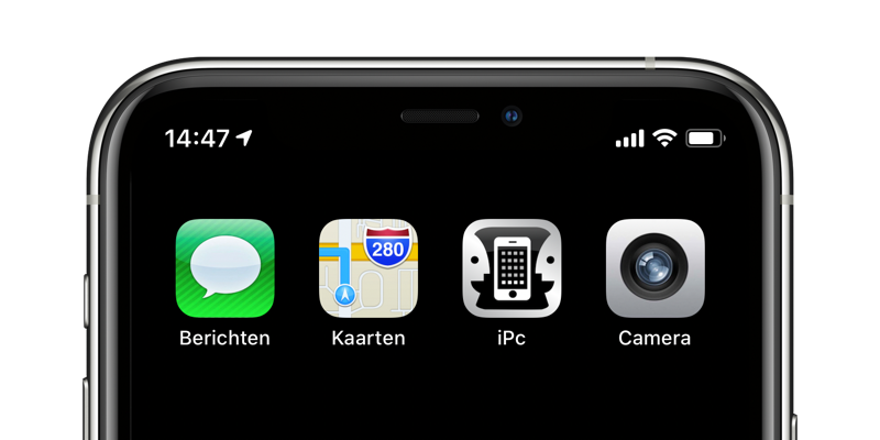 Oude appicoontjes op beginscherm met iPc-app.