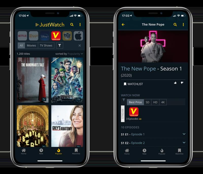 Serie kijken met JustWatch op de iPhone.