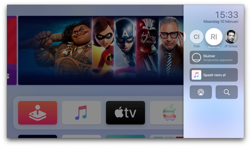 Apple TV Bedieningspaneel met knoppen voor systeemfuncties.