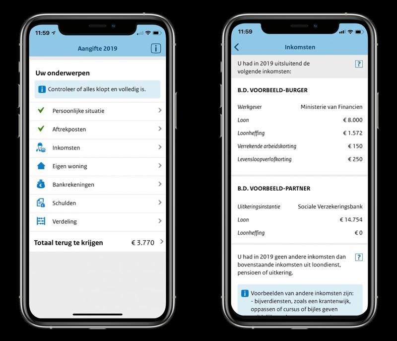 Aangifte 2019 app voor inkomstenbelasting.