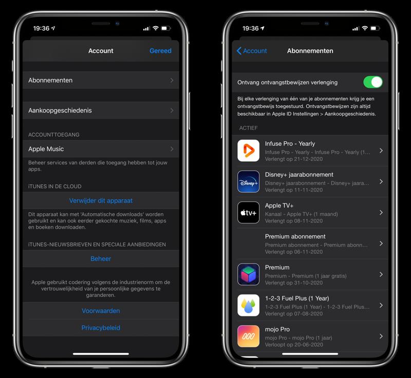Factuur app-abonnement