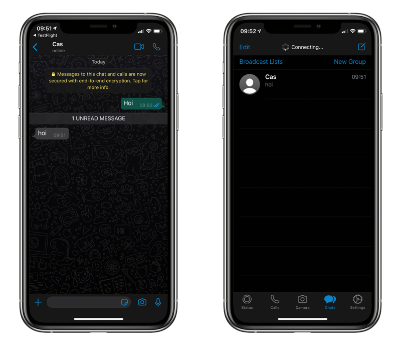 WhatsApp dark mode in zwart.