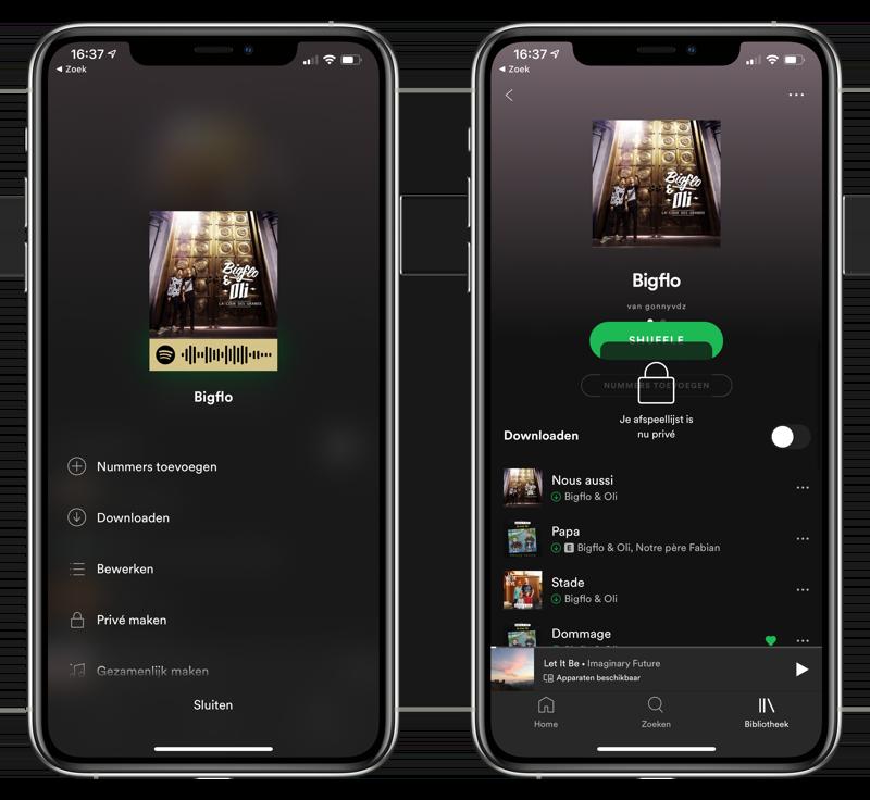 Spotify afspeellijst prive