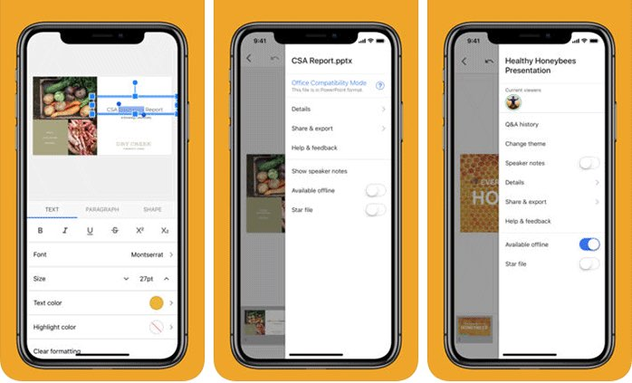 Google Presentaties op iPhone