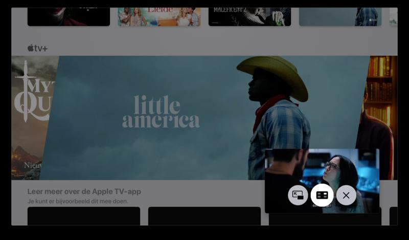 Picture in picture op de Apple TV gebruiken in de TV-app.
