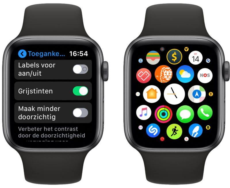 Apple Watch: grijstinten en appoverzicht.