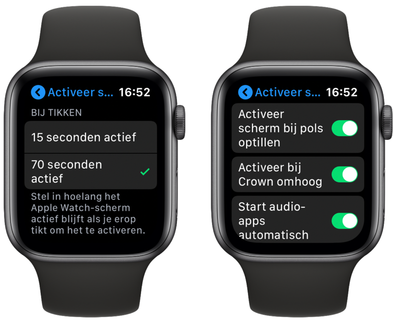 Apple Watch: activeer scherm instellingen.