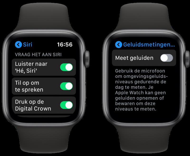 Apple Watch: Siri en instellingen voor Geluid-app.