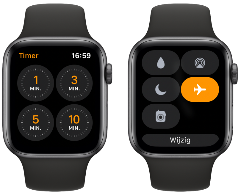 Apple Watch timer en vliegtuigmodus.