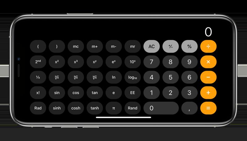 iPhone liggend: rekenmachine in landschapsweergave.
