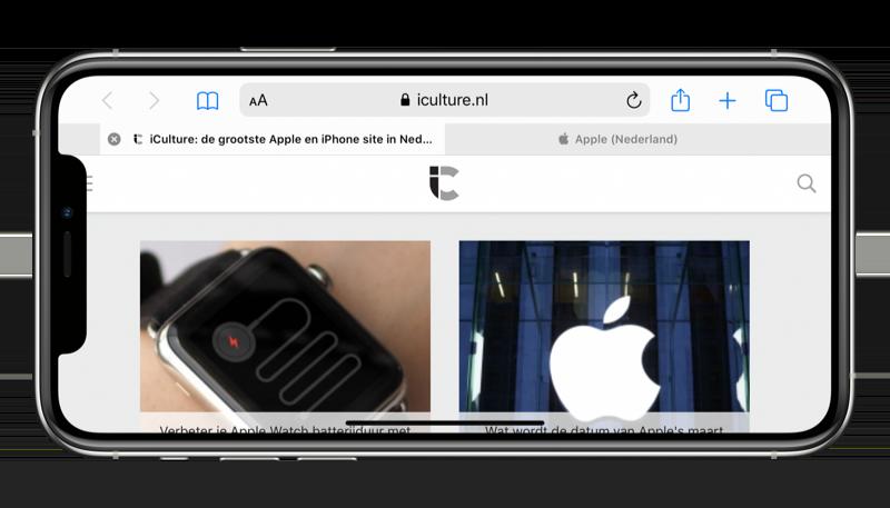 iPhone liggend (horizontaal) met Safari.