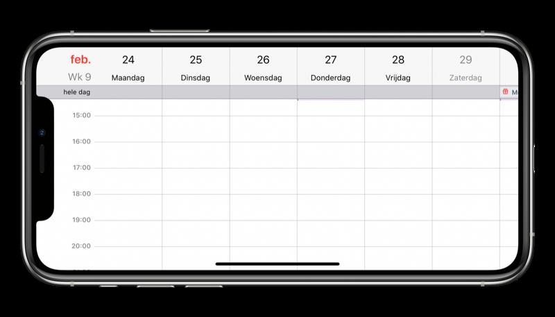 Agenda liggend op de iPhone met weekweergave.