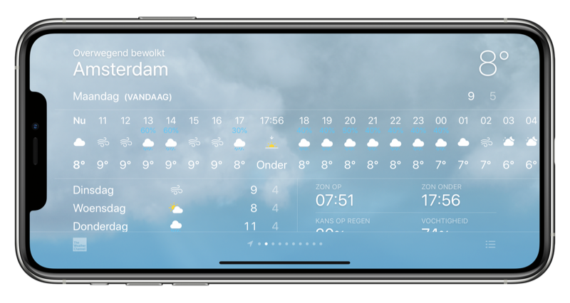 iPhone Weer-app horizontaal.