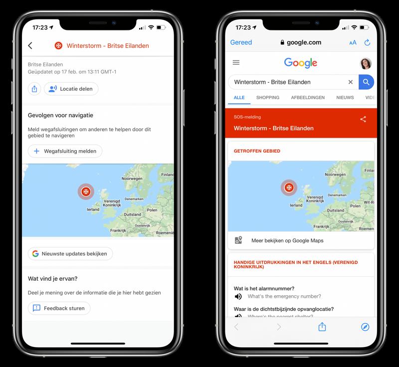 Google Maps toont SOS Alerts