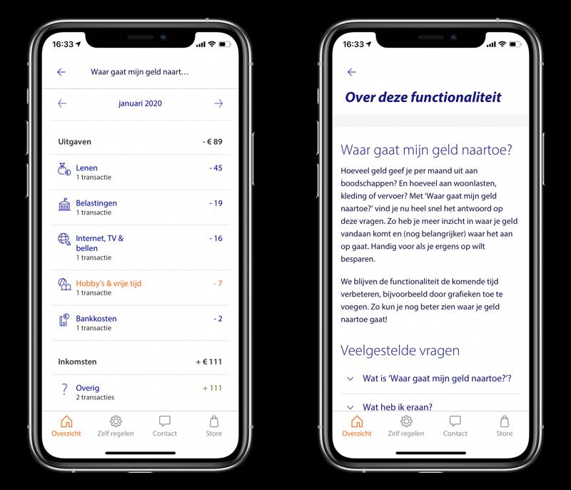 Rabobank app met inzicht in waar je geld naartoe gaat.