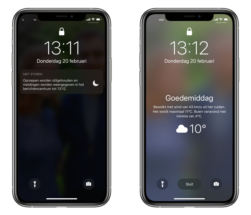 Bedtijdmodus op iPhone: gedimd lockscreen.