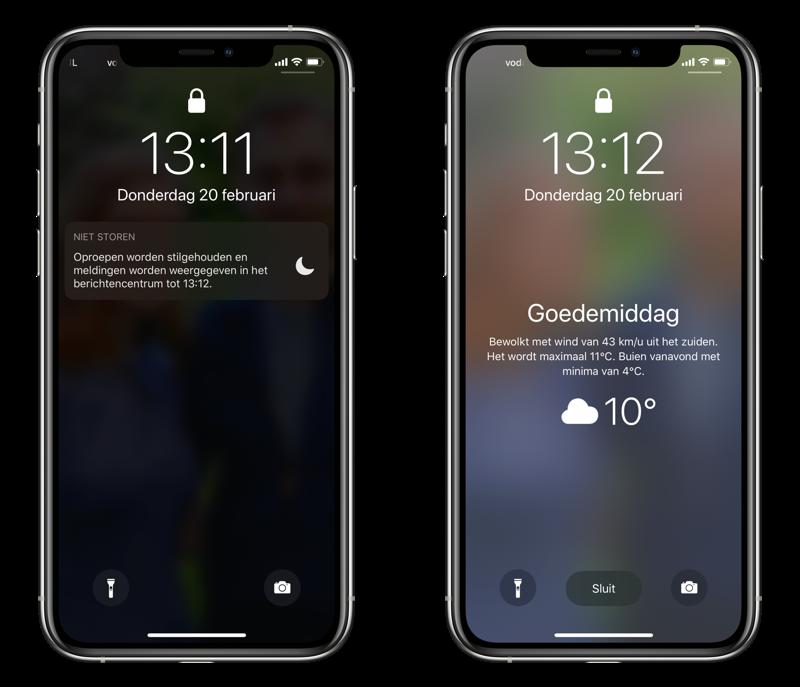 Bedtijdmodus op iPhone: gedimd lockscreen.