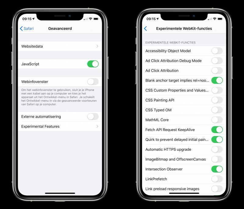 Safari experimentele functies op iPhone.