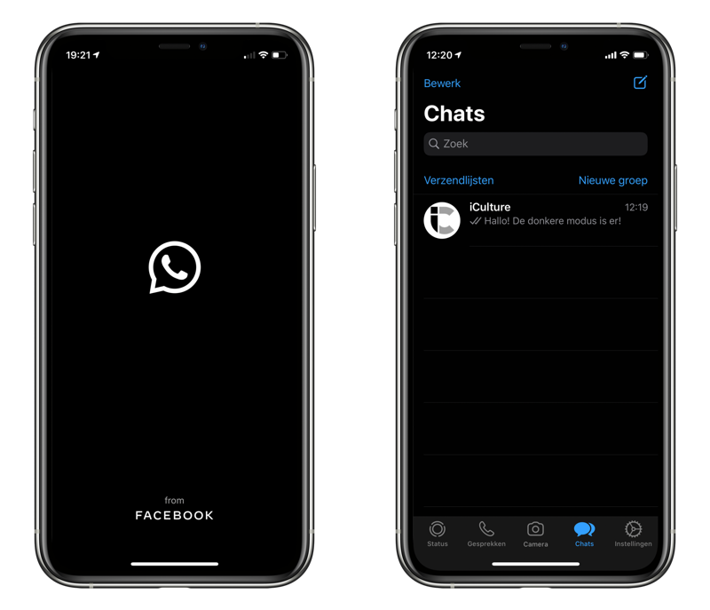WhatsApp donkere modus met startscherm en chats.