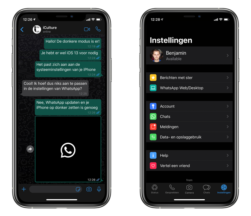 WhatsApp dark mode op de iPhone.