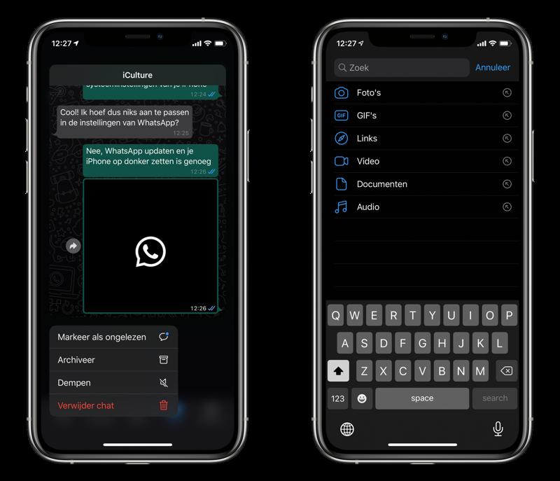 WhatsApp Haptic Touch en geavanceerd zoeken.