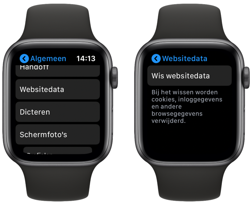 Websitedata wissen op Apple Watch.