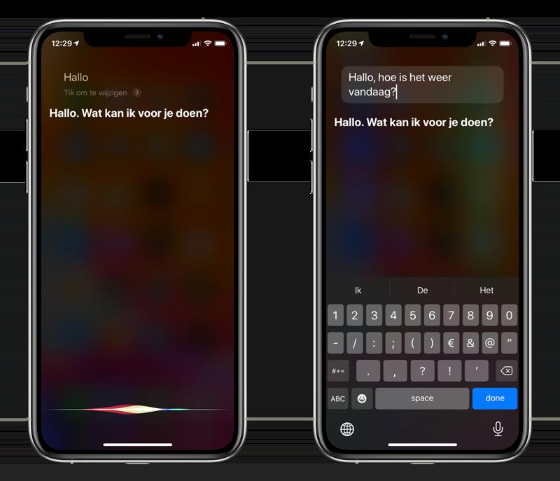 Siri vraag wijzigen door te typen.