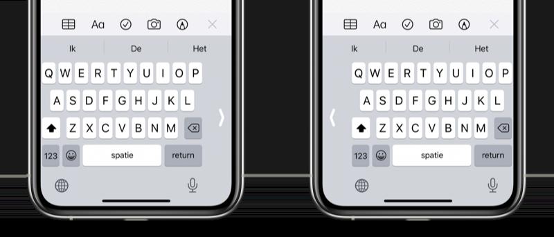 Eenhandig toetsenbord op iPhone gebruiken.