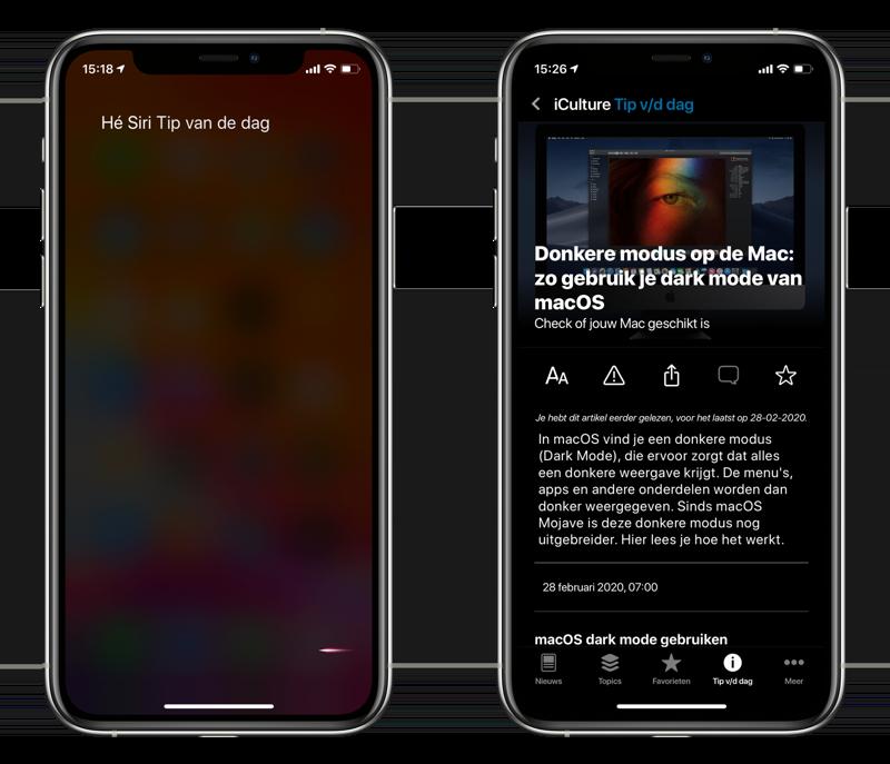 iCulture-app v3 Siri met Tip van de dag.