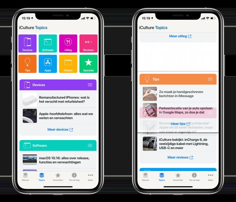iCulture-app v3 Topics pagina.