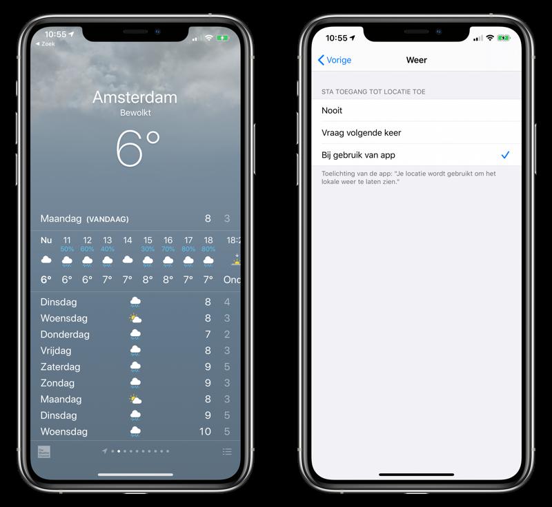 Weer-app op iPhone