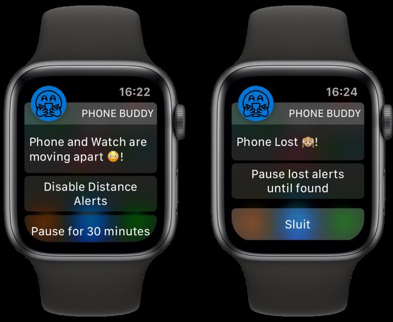 Phone Buddy Notifier for Watch met meldingen.