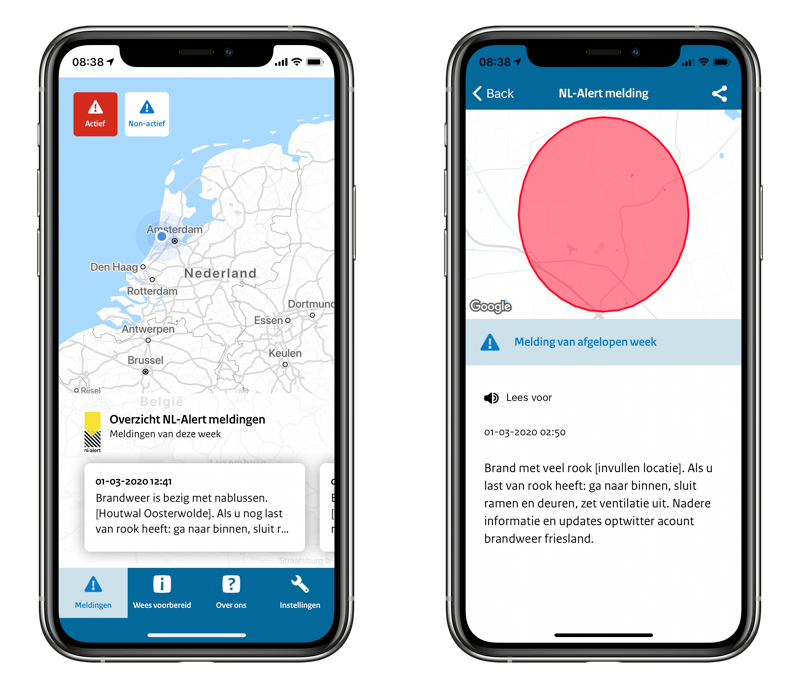 NL-Alert app meldingen.